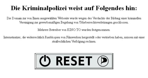 Kino.to-Kripo-Meldung mit Reset-Button